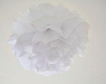 1 paper flower pom pom -- Xl-- snow white-- party decoration