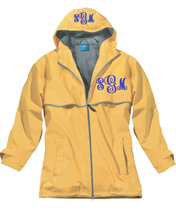 Women s yellow monogrammed personalized rain by