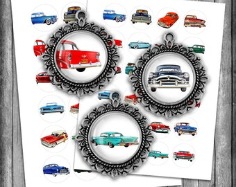 Vintage Cars - Printable Circle Images 25mm, 1inch, 35mm, 1.5 inch 1950s Cars Digital Collage Sheets - Instant Download