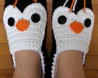 Crochet Penguin Slippers - Custom Made - Women/Men/Children - Handmade - Made to Order