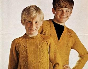Rare 1960s Jumper Pattern Boys / Original Vintage Knitting Pattern / The British Wool Marketing Board 8
