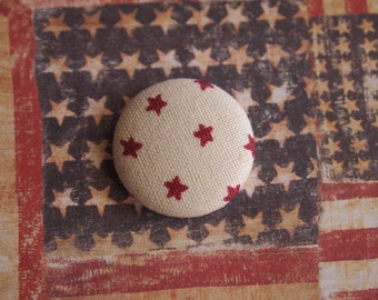 Cream and red Independence Day 4th fourth of July fabric covered buttons (size 60, 40, 32, 20, or 18)