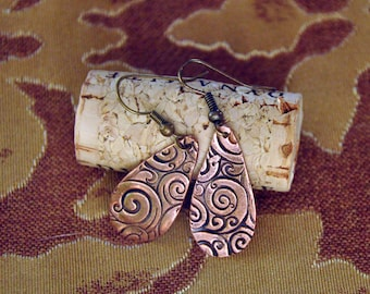 Handmade Copper Dangle Earrings With Swirl Design
