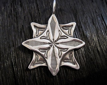 Large Detailed Stamped Artisan Star Cross Pendant in Sterling Silver (one) (A)