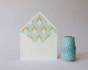 mint ikat lined envelopes - sets of 10 // envelope liners lined envelopes modern wedding shower party invitation invite