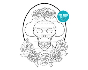 Digistamp Day of the Dead, Dia de los Muertos, digital stamp, instant download