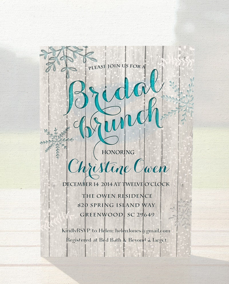 Winter bridal shower invitation bridal brunch by for Wedding brunch invitations