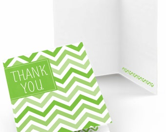 Set of 8 Thank You Cards - Green Chevron Greeting Card