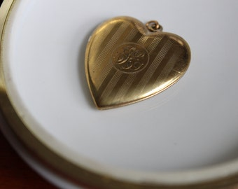 Art Deco Gold Tone Heart Locket with Initials