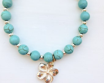 Sterling Silver Turquoise Bracelet with Plumeria Charm