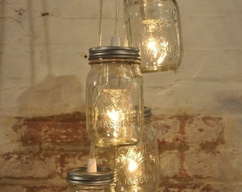 Mason Jar Chandelier, Pendant Mason Jar Light Cluster, 4 clear Jars, Industrial Style Lighting, Retro Light, Clear Wire