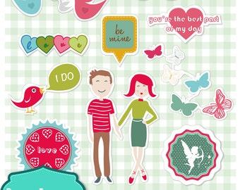 Cute Valentine digital cliparts, digital images, printables, patterns, cards, backgrounds [SC-004]