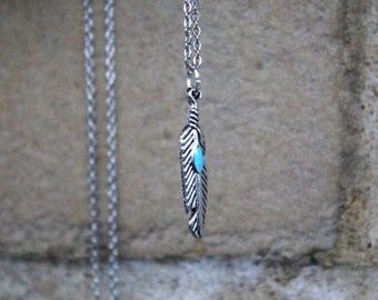Silver Leaf Necklace ( Boho Necklace, Minimal Necklace, Simple necklace, Bohemian, Long Necklace, rhodium Necklace, turquoise jewelry  )