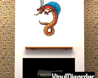 Chinese Dragon Scroll Wall Decal - Wall Fabric - Vinyl Decal - Removable and Reusable - ...