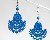 Denim Blue Painted Lace Earrings with Lapis