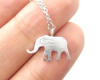 Simple Lucky Elephant Silhouette Shaped Animal Charm Necklace in Silver | Handmade Animal Jewelry