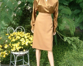 80s Ochre colored Wool Suiting  Fully Lined Straight Skirt by Jones of New York Size 18W