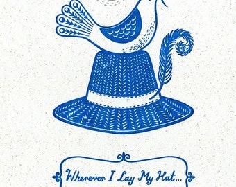 Retro Scandi Style Bird Gocco Screenprint 'Wherever I Lay My Hat' Trilby Hat New Home Art Print