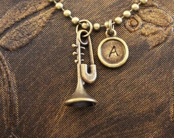 Trumpet Necklace Personalized Necklace Trombone Necklace Music Necklace Custom Necklace Engraved Necklace Hand Stamped Necklace