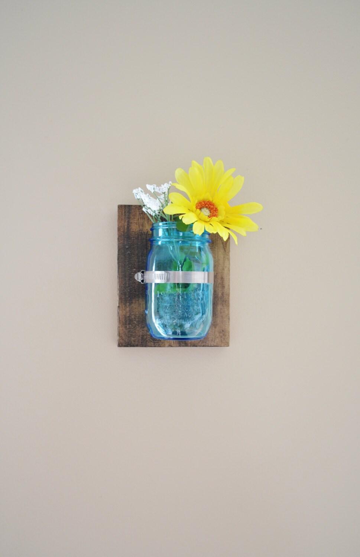 Mason Jar Wall Sconce Etsy : Mason Jar Wall Decor Sconce Primitive by TheLittleGreenBirdie