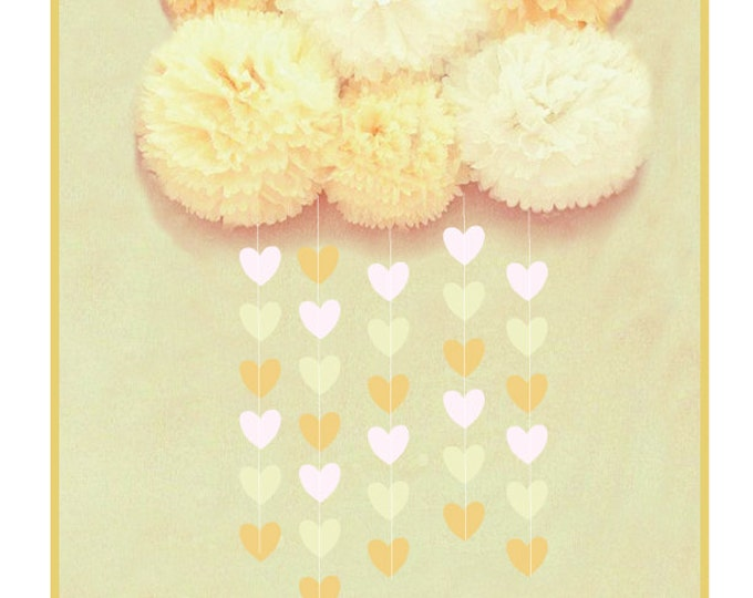 Tissue poms with raindrops, 5 pom pom cloud and heart garland, Baby's room decor, Baby shower Party decoration, Rain drop decor, cloud poms