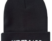 SURFBOARD 3D Cuffed Beanie Hat Hip Hip Beanies Cap Black/White