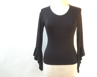 Black TOP vintage with gothic sleeves - Size 1 (4 - 6 US)