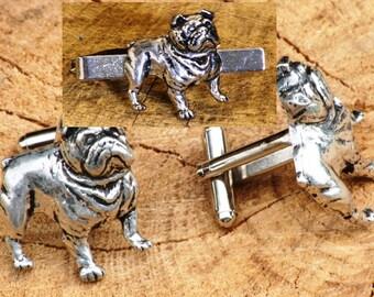British Bulldog Cufflinks & Tie Tack Slide Clip Mens Gift Set