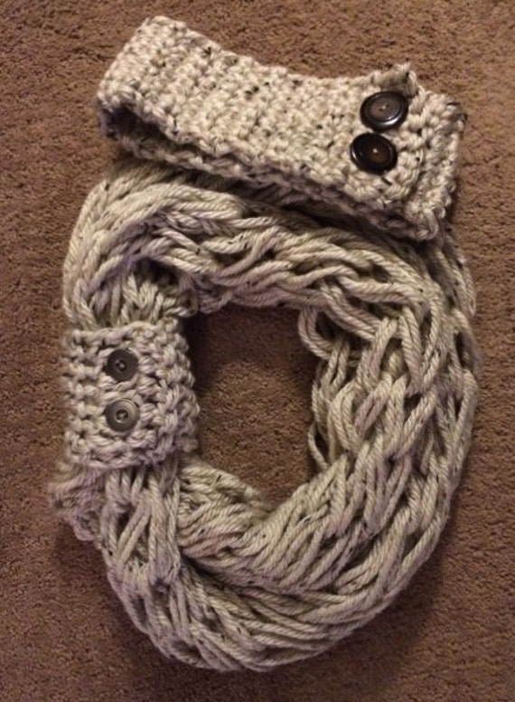 Items similar to Arm knit infinity scarf with matching button cuff and headba...