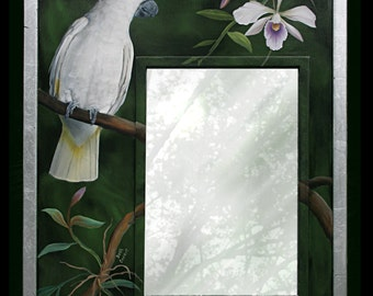 Sold... But custom order welcome. Original Painting. Tropical bird and orchid painting with mirror. Frame is Aluminum leaf on Oak.