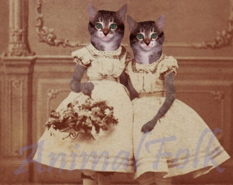 Double trouble SISTER KITTEN Art  Mixed Media Collage Print  Victorian CAT girl Altered Antique Photograph anthropomorphic