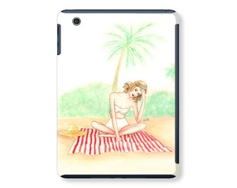 iPad case, ipad cover, ipad mini, ipad air, fashion illustration, fashion art, watercolor - At the beach