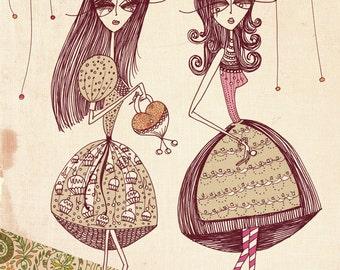 Vintage Girls, Illustrated Art Print - A4