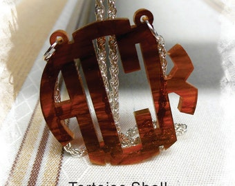 Monogram Necklace - Custom Handmade Circle Monogram 3 Initial Name Acrylic Monogram Jewelry - Tortoise Shell Necklace