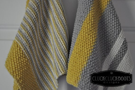 Knitted Chevron Baby Blanket Pattern : Kitchen Dish Towel Knitting Patterns Bistro by CluckCluckBoots