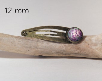 Hair clip SNAP 12 mm diam. Round glass and metal