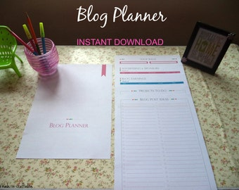 Blog Planner Set, Single PDF along with Divider Page, Blog PDF Planner Pages, Blog or website planner, Instant Download
