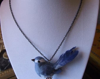 Delicate Sparrow Statement Pendant / Jeweled Bird Statement Necklace / Folk Art Jewelry /  Cute Spring Jewelry / Great gift !