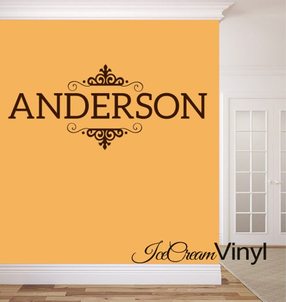 Family Name Wall Decal Personalized Last Name Monogram for Living Room Family Room Home Decor Vinyl Letters