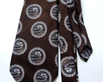 HG Distinctive Neckwear /Vintage Men's TIE Beautiful patterned cravat Retro Print Brown Necktie Countryside House Brown White Blue