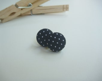 Black and White Polka Dot Fabric Button Post Earring.
