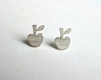 Apple earrings with fine structure, silver