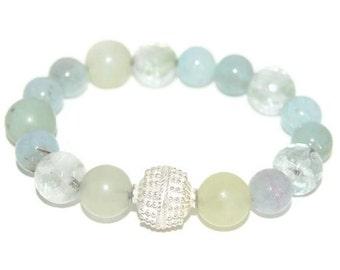 Blue Stretch Bracelet, Amazonite Bracelet, Green Amethyst Bracelet, Green Chalcedony Bracelet