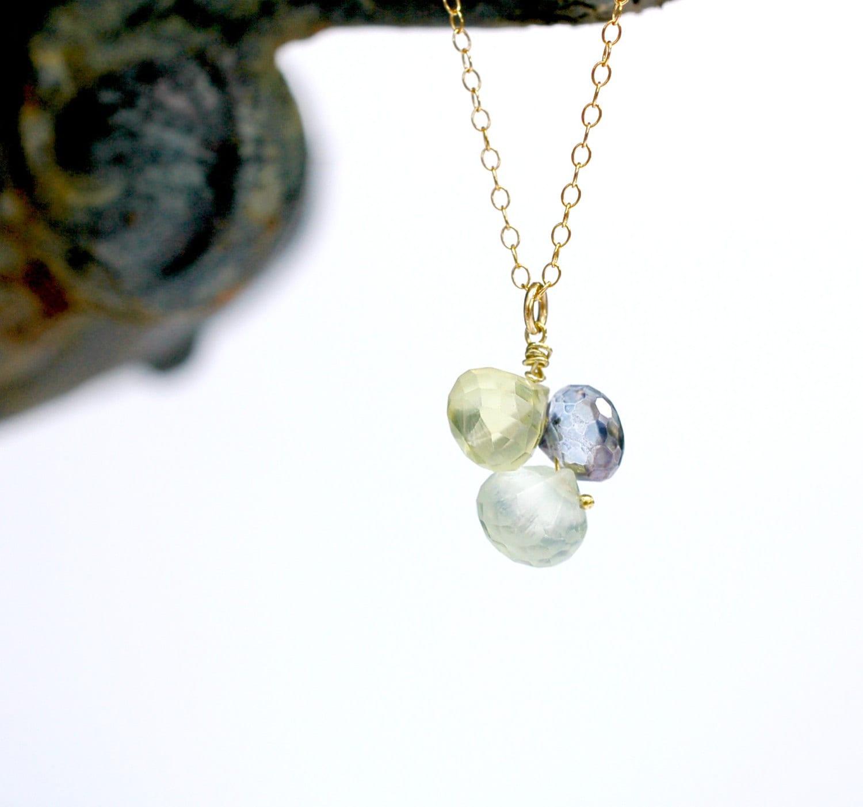prehnite necklace mystic blue quartz cluster by greenegems