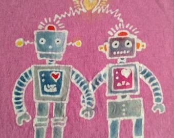 Robots in Love Custom Batik Tshirt