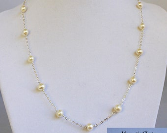 White Pearl Necklace with Sterling Silver Chain & Magnetic Clasp