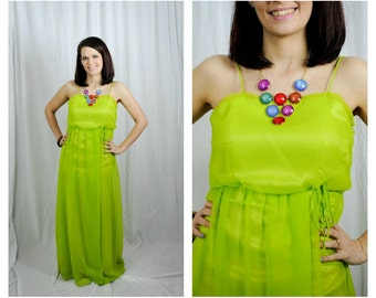 70s Chartreuse Maxi Neon Yellow/Green Disco Sheer Tie Waist Spaghetti Strap Dress Sz XS