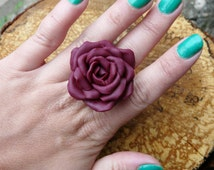 Rose Ring, Victorian Flower Ring, Purple Rose Jewelry, Plum Cocktail Ring, Rose Ring Jewelry, Rose Gift for Her