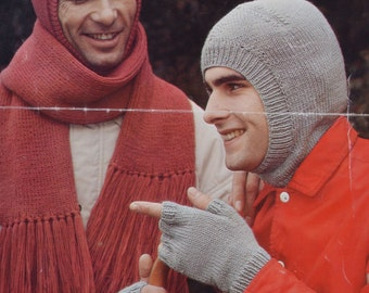 Vintage knitting pattern men's balaclava scarf fingerless gloves pdf INSTANT download pattern only pdf 1970s