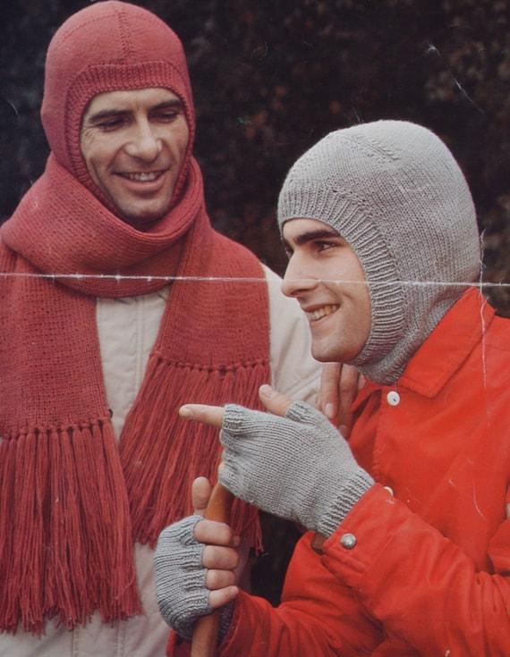 Vintage Balaclava Knitting Pattern : Vintage knitting pattern mens balaclava scarf fingerless